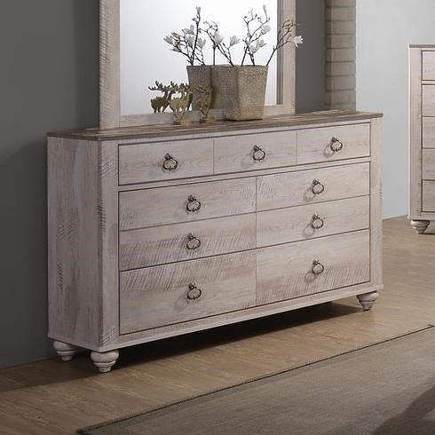 Lifestyle C7302A Casual Seven Drawer Dresser with Ring Hardware