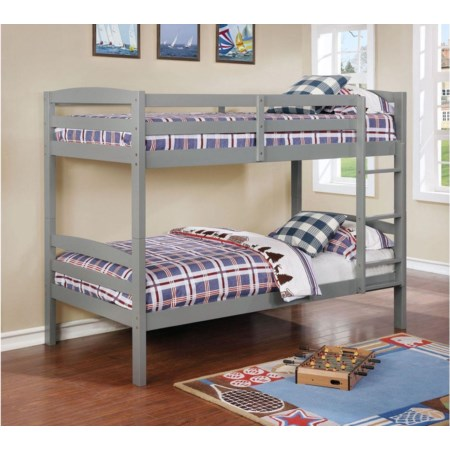 Grey Twin over Twin Bunk Bed
