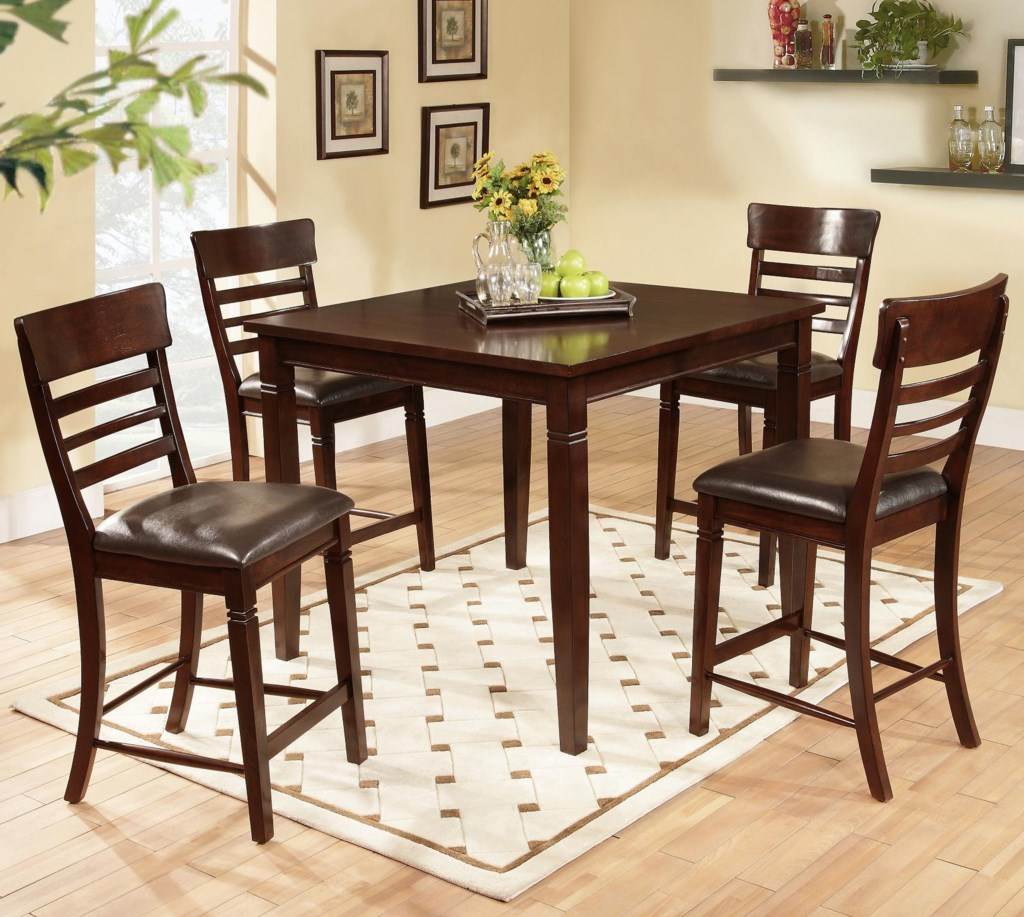 lifestyle dc192 5 piece pub table set with ladder back pub chairs