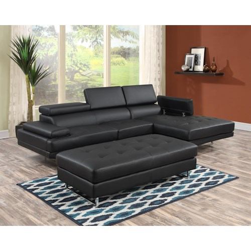 Lifestyle U2376s Contemporary Sectional Sofa With Storage