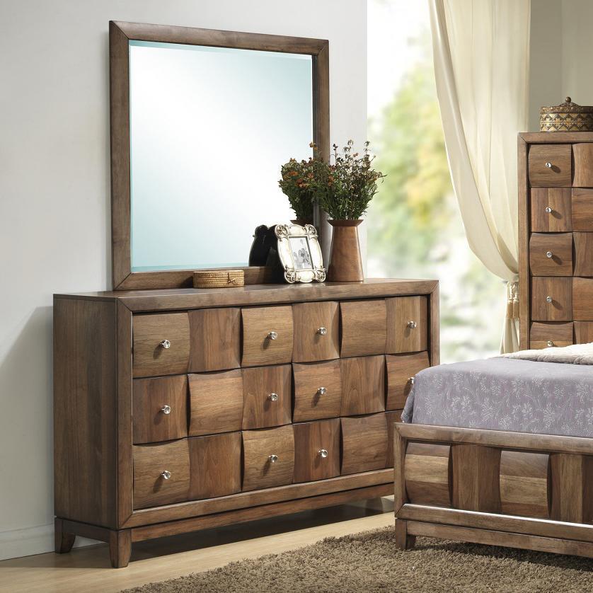 Beau Lifestyle Walnut Parquet6 Drawer Dresser And Mirror ...