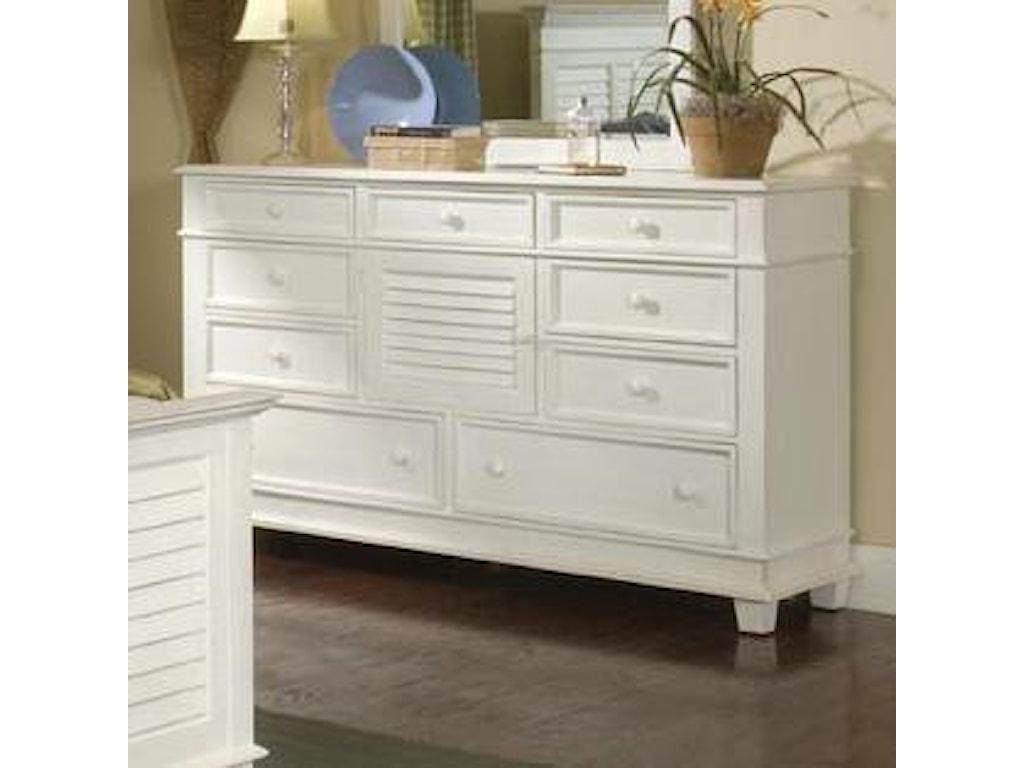 Linwood Furniture Villages of Gulf BreezeTriple Drawer Dresser with Landscape Mirror