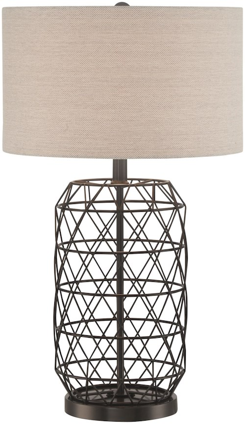 Lite Source Portable Lamps Black Finished Metal Table Lamp with Linen Fabric Shade