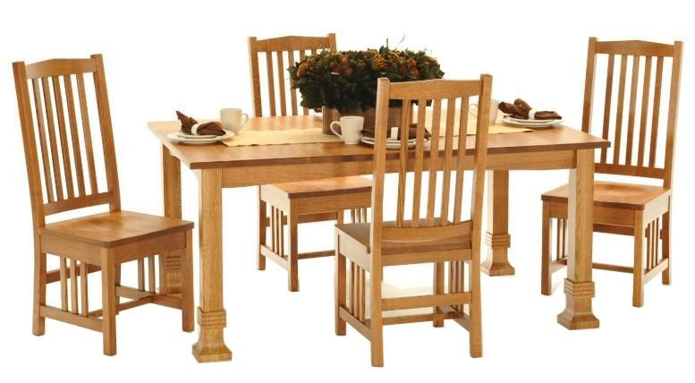 American Amish Grand Mission Dining Leg Table With Four Style Side Chairs