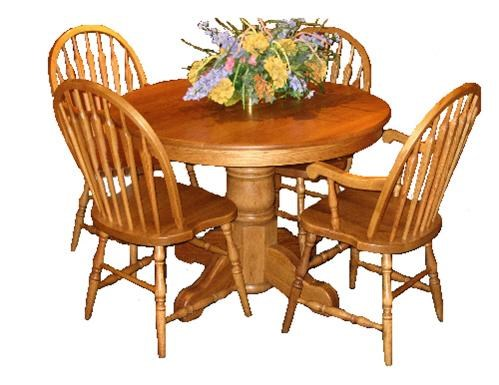 L.J. Gascho Furniture Oak Ridge Round Pedestal Table U0026 Chair Set ...