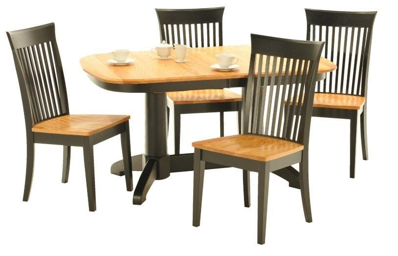 American Amish Split RockDining Table And Slated Chair Group ...