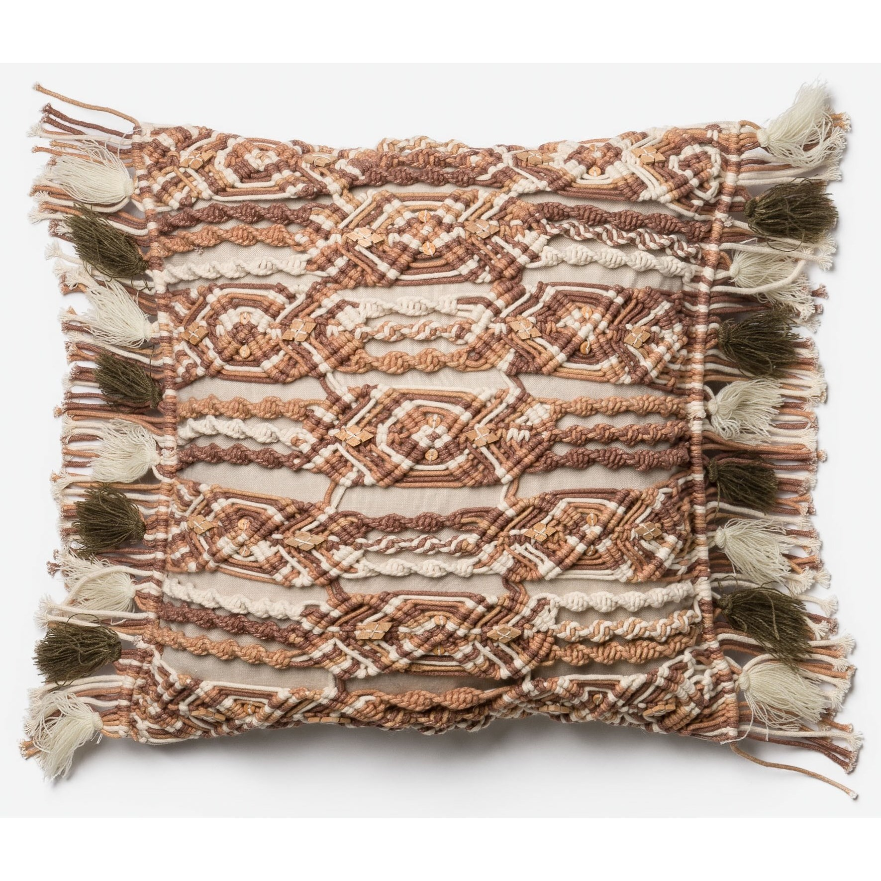 """Brown / Ivory 18"""" X 18"""" Down Pillow"""
