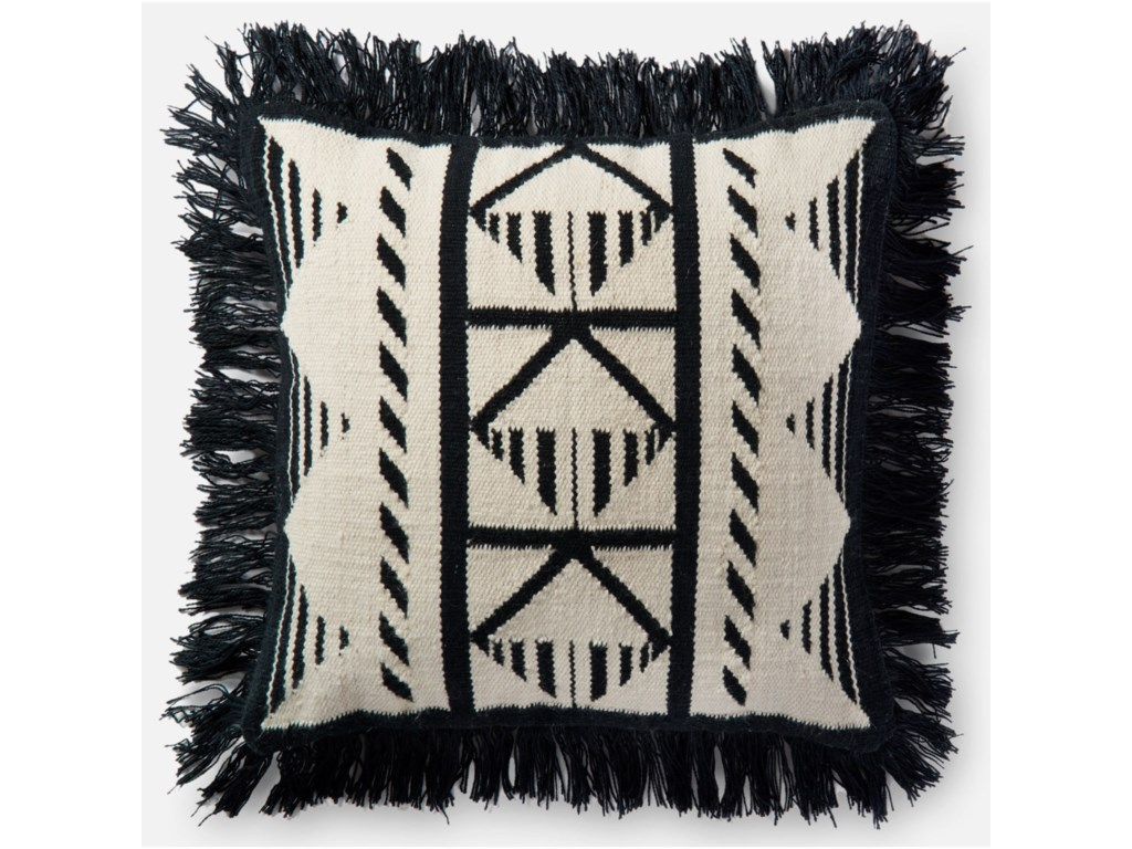 Indoor Outdoor Black Ivory 22 X Down Pillow By Loloi Rugs