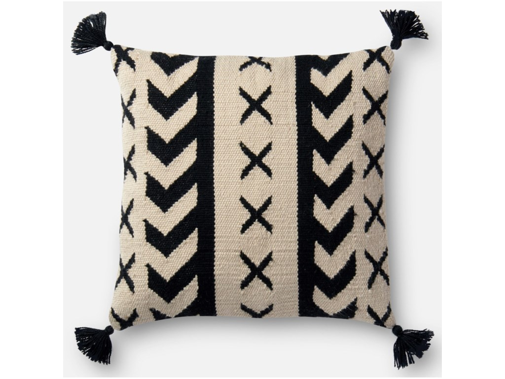 Loloi Rugs Indoor Outdoor Black Ivory 18 X Polyester Pillow