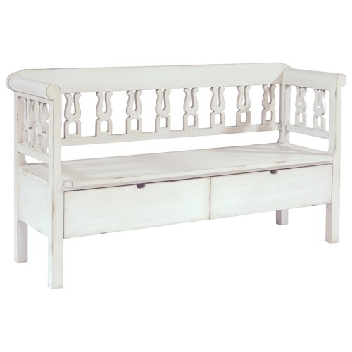 Magnolia Home by Joanna Gaines Accent Elements Hall Bench with Vertical Splats and Built-in Storage