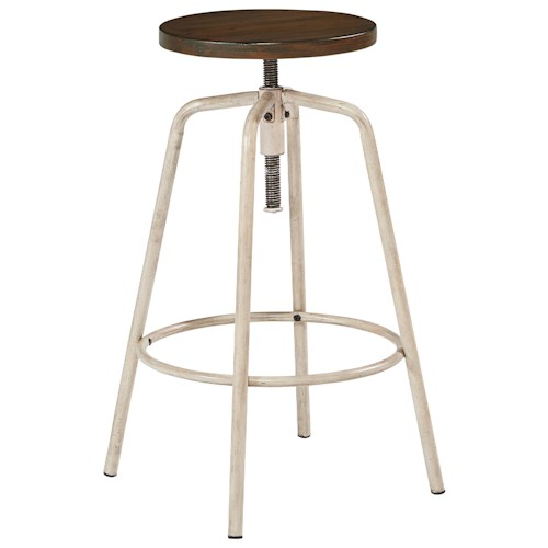 Magnolia Home by Joanna Gaines Accent Elements Round Stool with Metal Base and Milk Crate Finished Seat