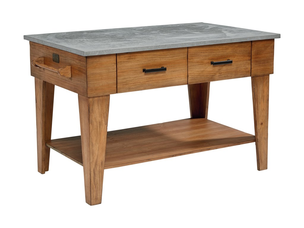 Farmhouse Kitchen Island With 2 Drawers And An Open Shelf By Magnolia Home By Joanna Gaines At Olinde S Furniture