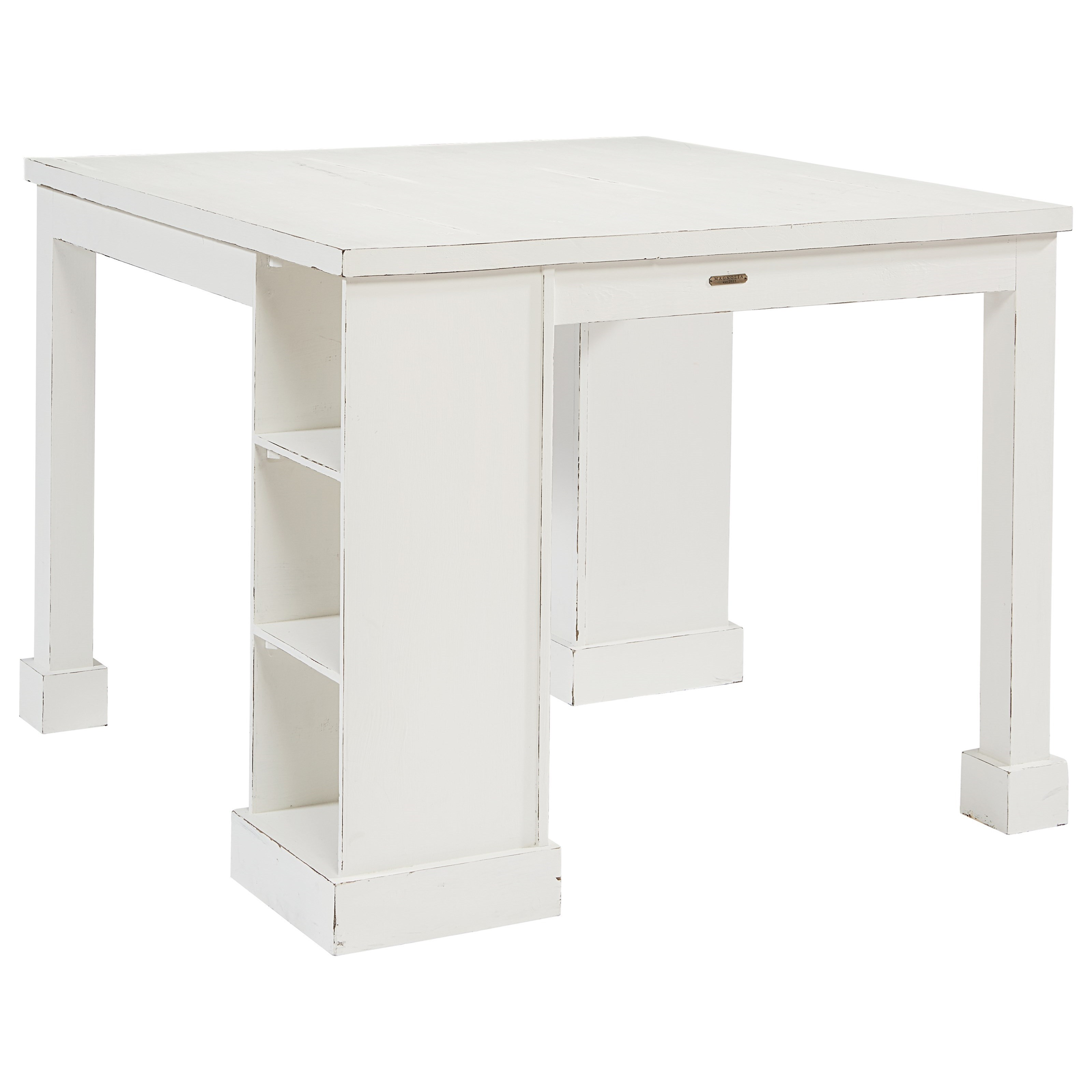 Magnolia Home By Joanna Gaines Farmhouse Craft Table With Corner Storage  And Cubby Shelves