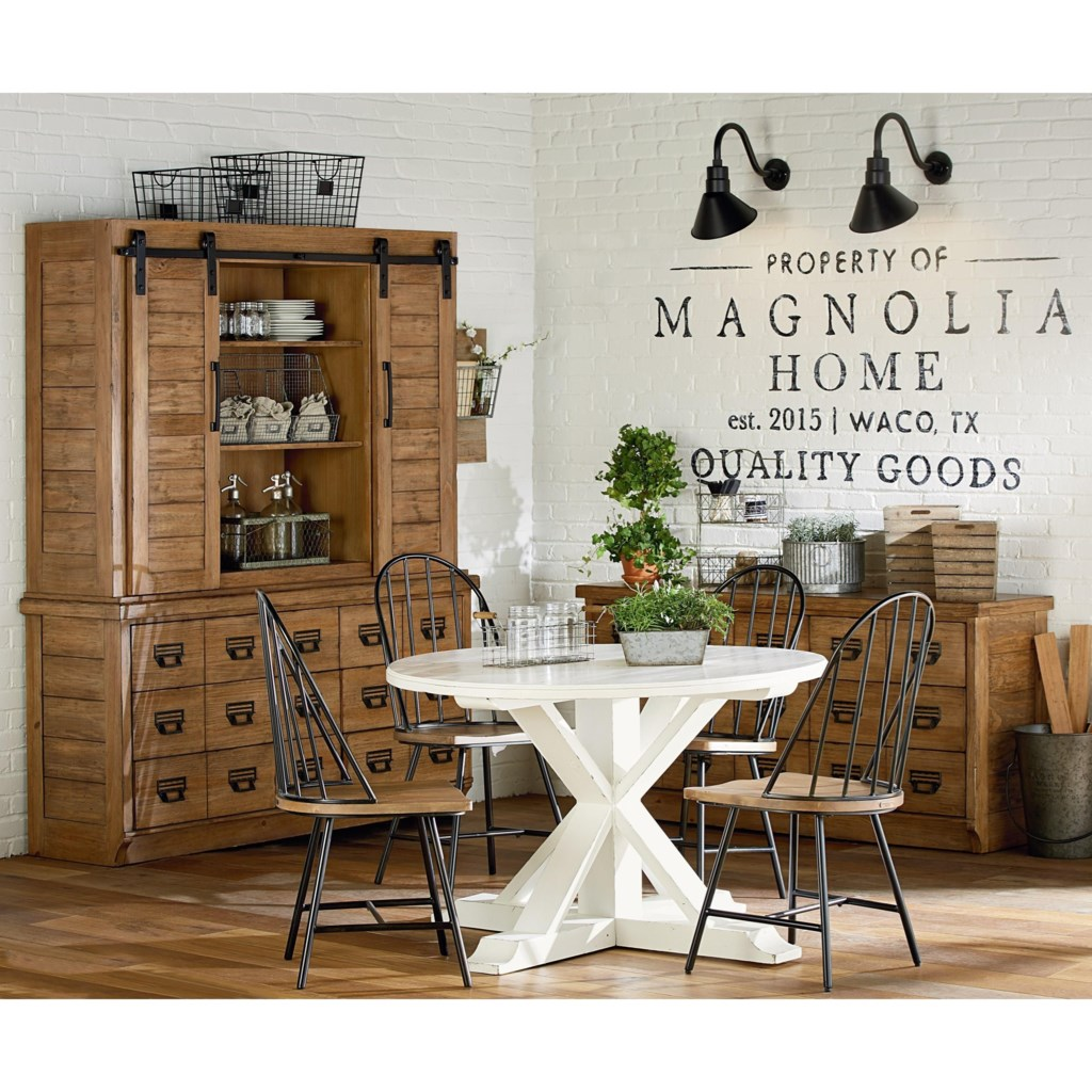 magnolia home by joanna gaines farmhouse round table with x shaped