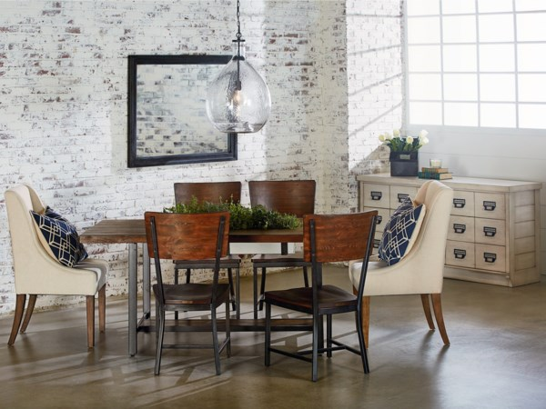"""Industrial Dining Room with 72"""" Table"""