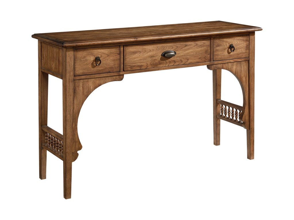 Magnolia home by joanna gaines traditional 4020106h console table magnolia home by joanna gaines traditional 4020106h console table with turned spindle side stretchers hudsons furniture sofa tablesconsoles geotapseo Image collections