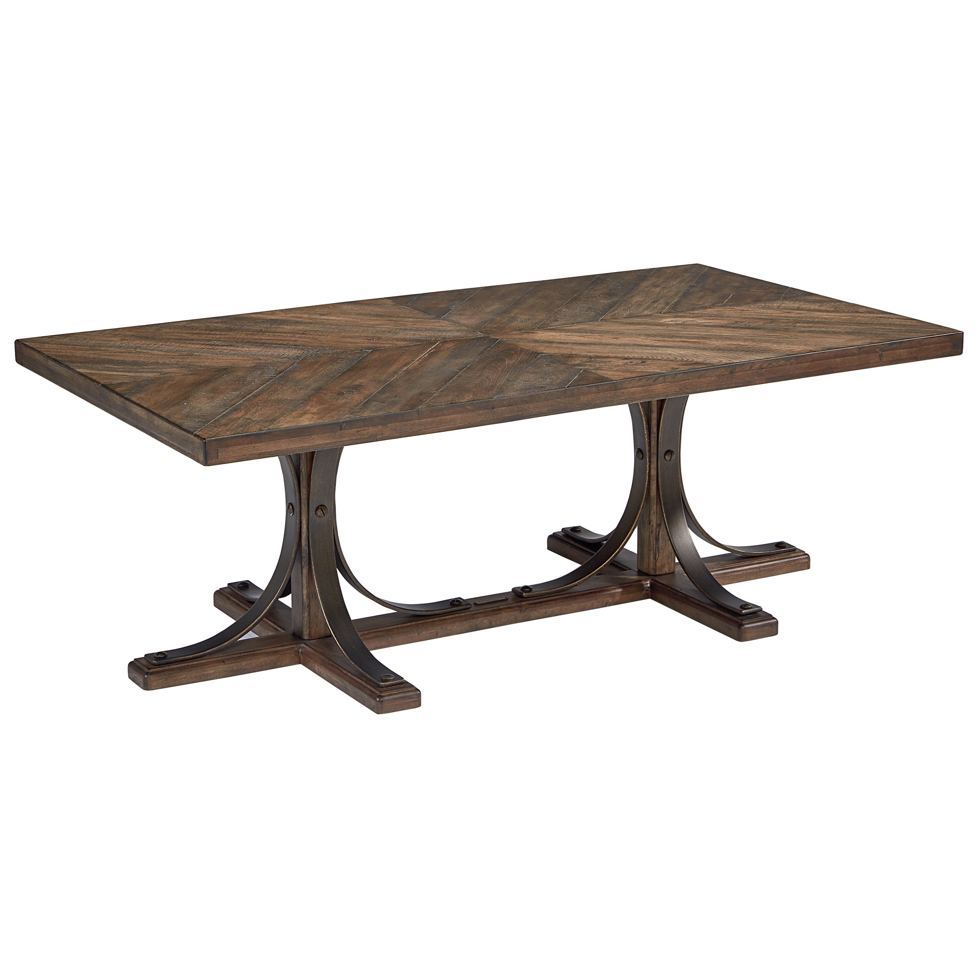 Magnolia Home By Joanna Gaines Traditional Wood Top Cocktail Table With Metal  Base   Darvin Furniture   Cocktail/Coffee Tables