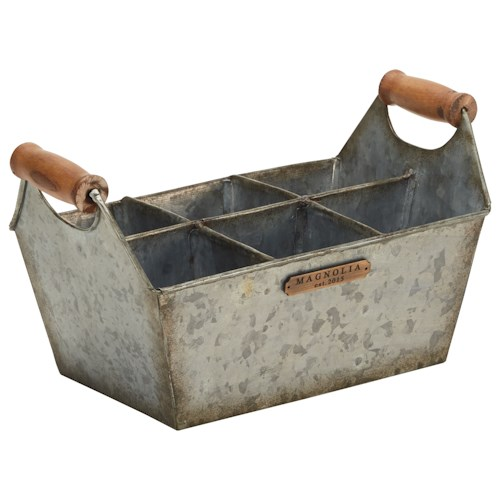 Magnolia Home by Joanna Gaines Accessories Metal Bucket with Wood Handles and Storage Compartments