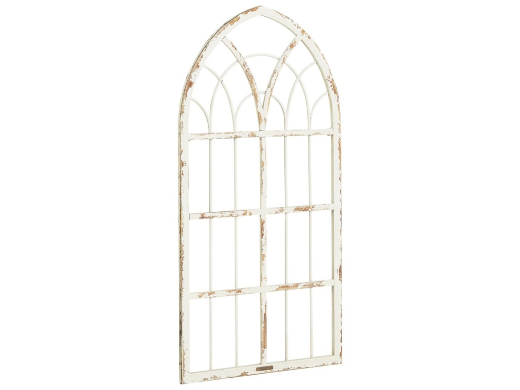 Accessories Metal Cathedral Pee Window Frame With Distressed White Finish By Magnolia Home Joanna Gaines