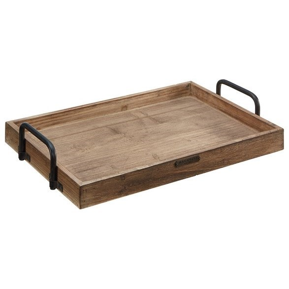 Accessories Rectangular Wood Tray With Metal Handle By Magnolia Home By  Joanna Gaines