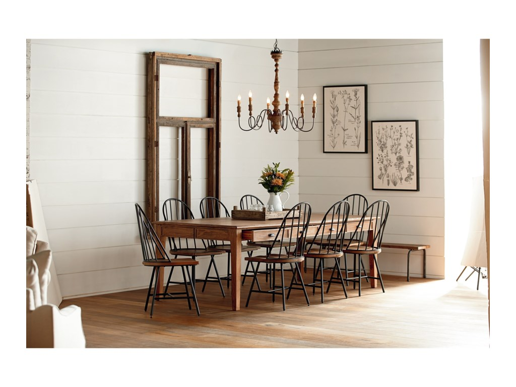 Magnolia Home By Joanna Gaines Farmhouse 10 Piece Dining Set With Hoop Windsor Chairs Bench And Storage Table