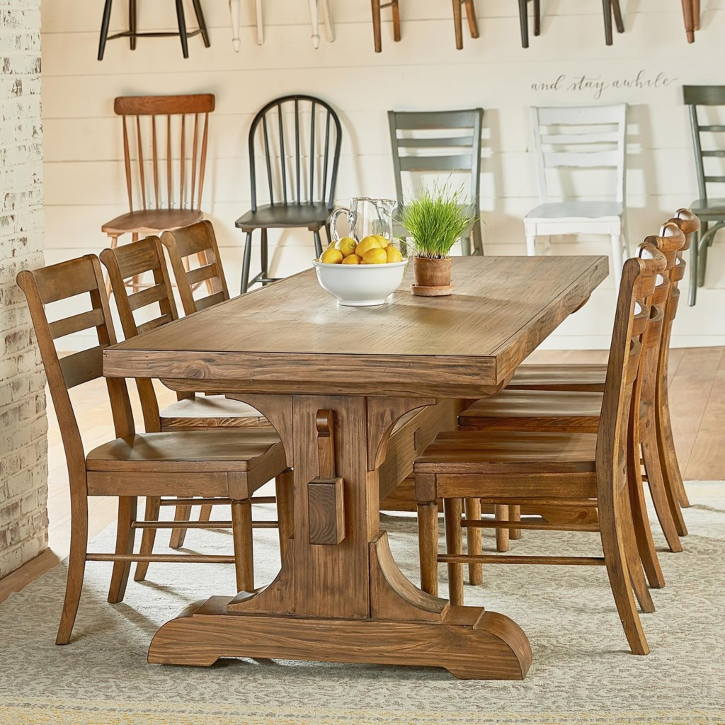 89 Standard Furniture Garrison Trestle Table Dining Set
