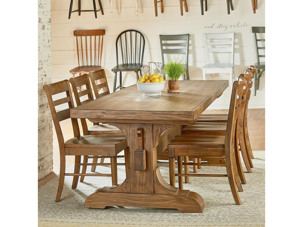 Farmhouse Seven Piece Trestle Table And Chair Set By Magnolia Home Joanna Gaines