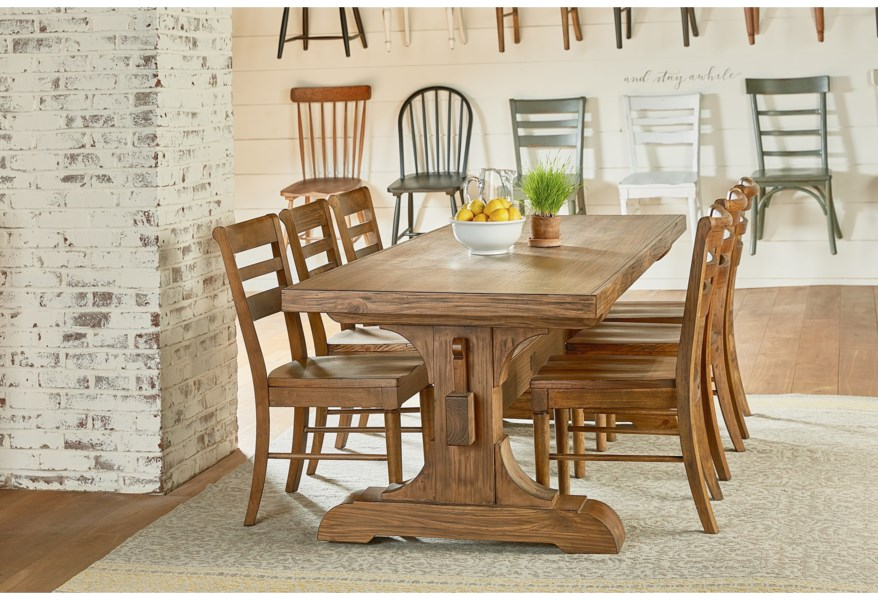 Magnolia Home By Joanna Gaines Farmhouse Keyed Trestle Dining Table Jacksonville Furniture Mart Dining Tables