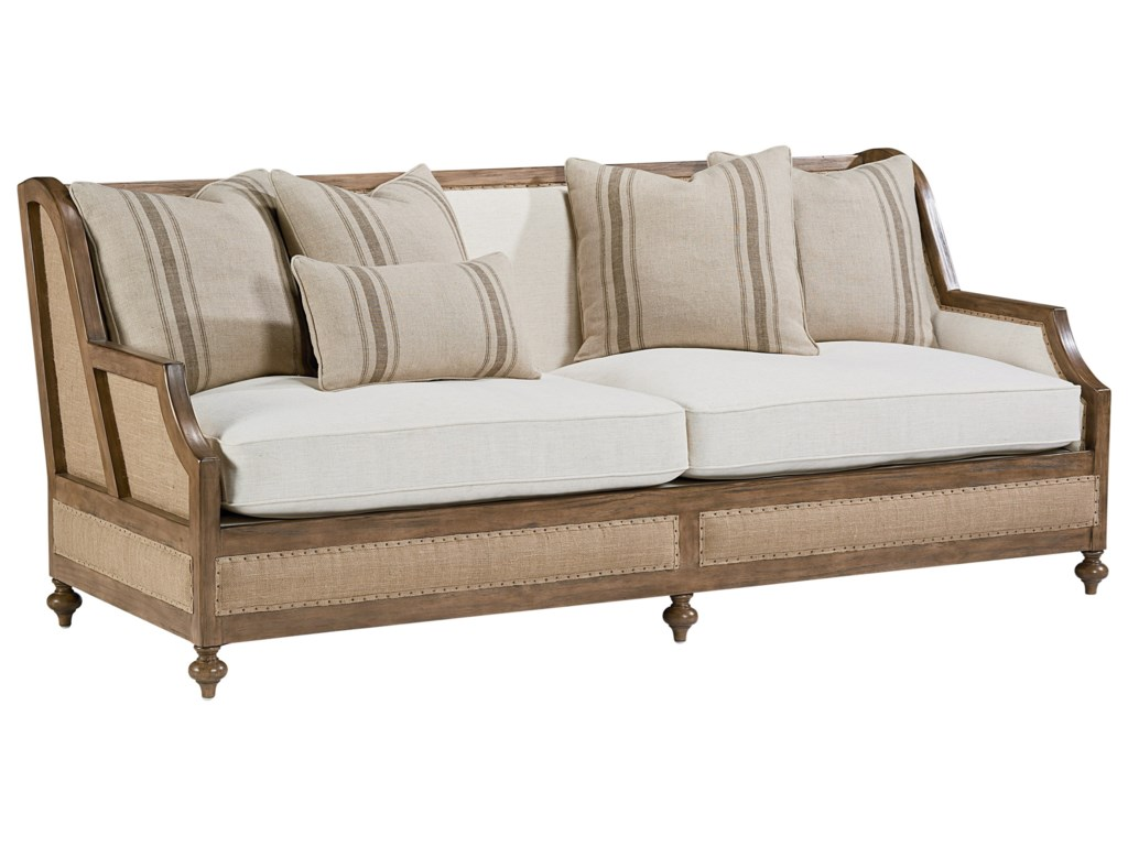 Magnolia Home By Joanna Gaines Foundation Sofa With Exposed Frame And Five Accent Pillows