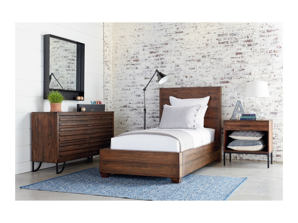 elm logan smoked industrial bed brown canada bedroom platform west media