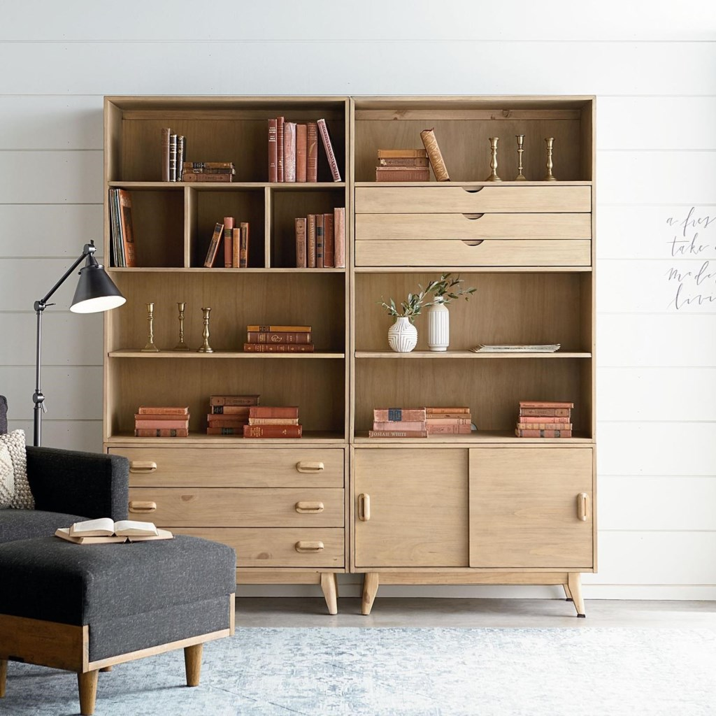 Magnolia home by joanna gaines modern era mid century modern large bookcase