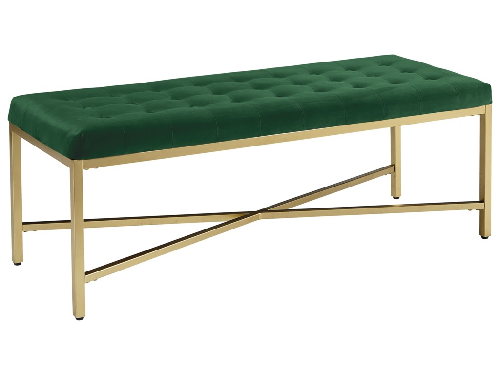 magnolia home by joanna gaines modern upholstered bench with  - magnolia home by joanna gaines modern upholstered bench with brushed brassframe  great american home store  upholstered benches