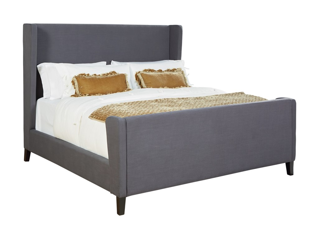 Magnolia home by joanna gaines modern king upholstered bed with wingback headboard