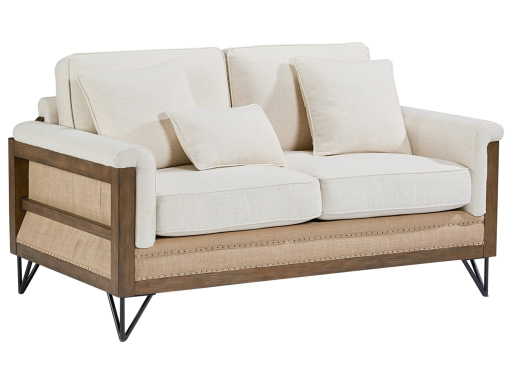 magnolia home by joanna gaines paradigm paradigm loveseat with exposed wood frame - Wood Frame Loveseat