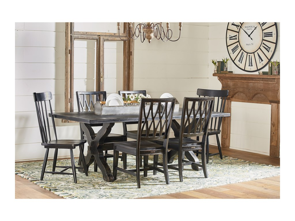 Primitive Sawbuck Dining Table Set by Magnolia Home by Joanna Gaines at  Fashion Furniture