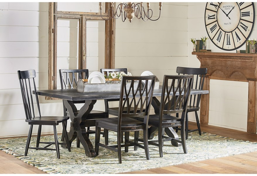 Magnolia Home By Joanna Gaines Primitive Sawbuck Dining Table Set Jacksonville Furniture Mart Dining 7 Or More Piece Sets,Shades Of Deep Purple Hush