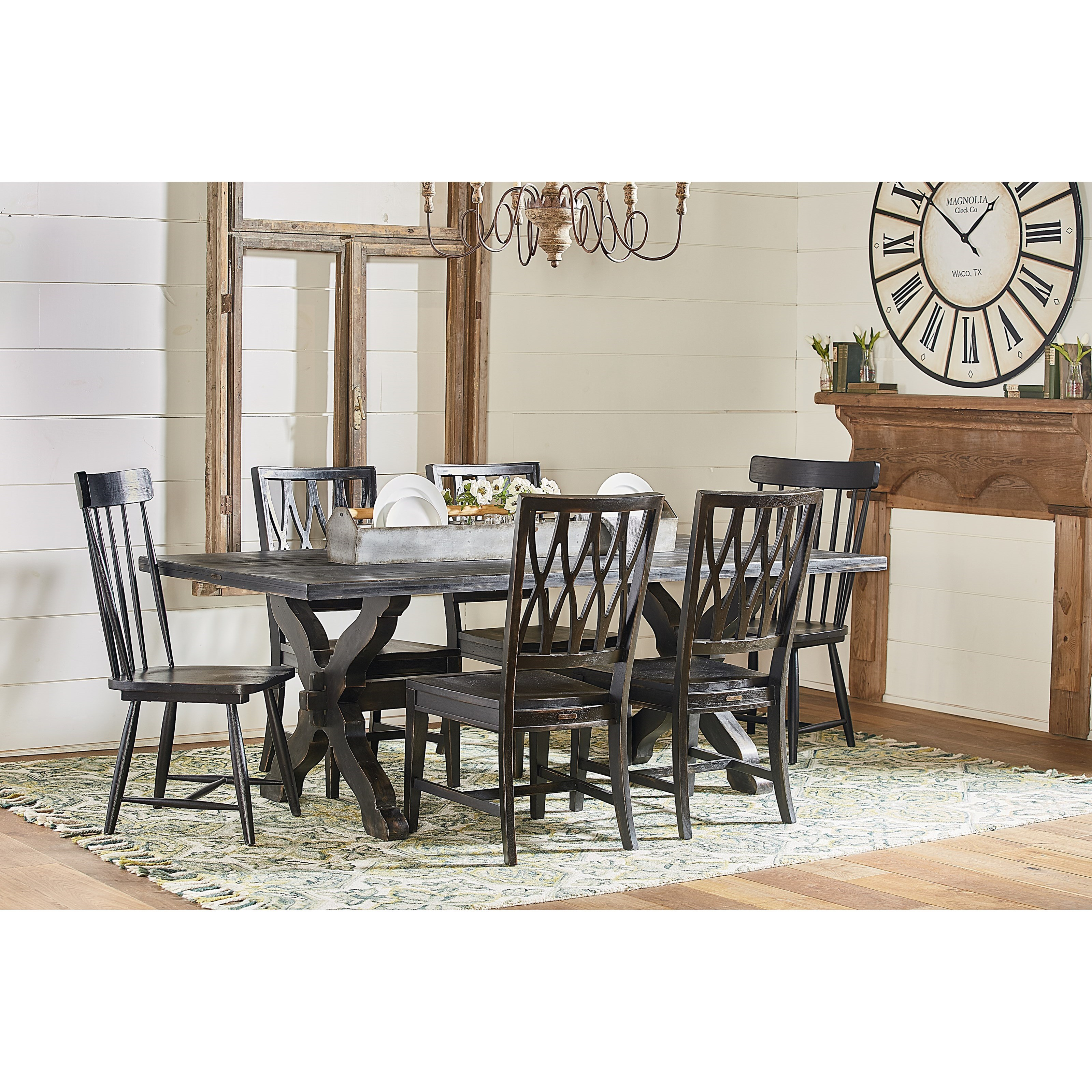 Magnolia Home By Joanna Gaines Primitive Sawbuck Dining Table Set   Darvin  Furniture   Dining 7 (or More) Piece Sets