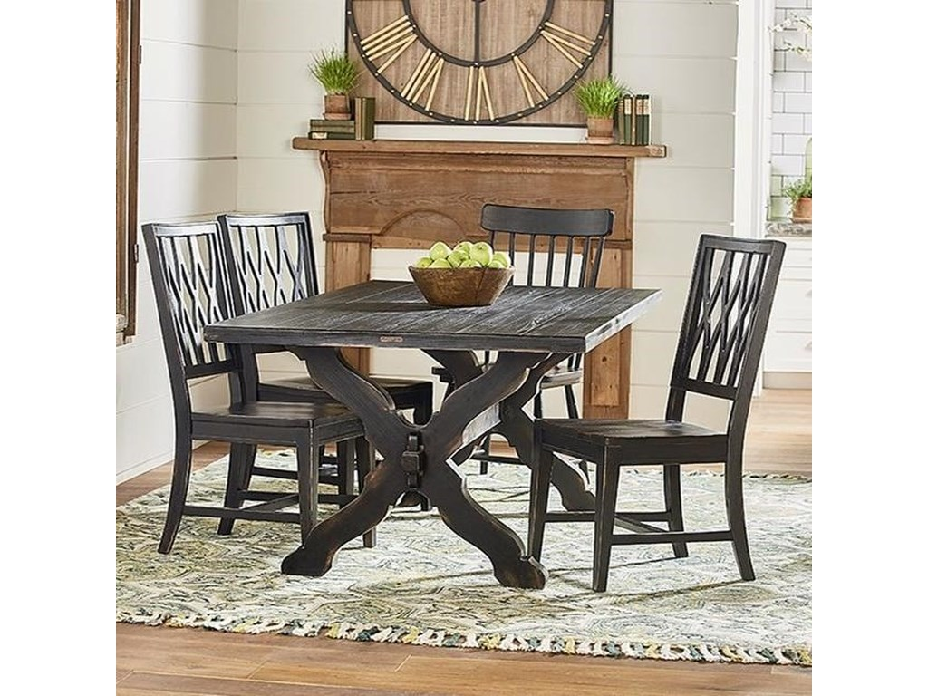Primitive Rustic Trestle Table and Chair Set by Magnolia Home by Joanna  Gaines at Fashion Furniture