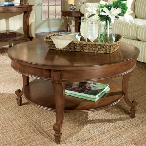 Magnussen Home Aidan Round Cocktail Table with Shelf