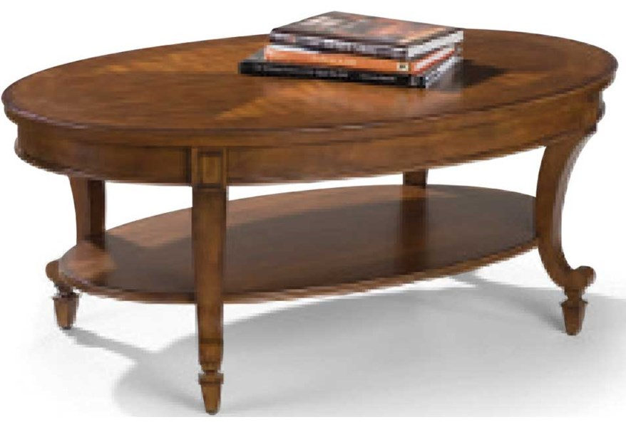 Magnussen Home Aidan T1052 47 Oval Cocktail Table With Shelf Upper Room Home Furnishings Cocktail Or Coffee Table
