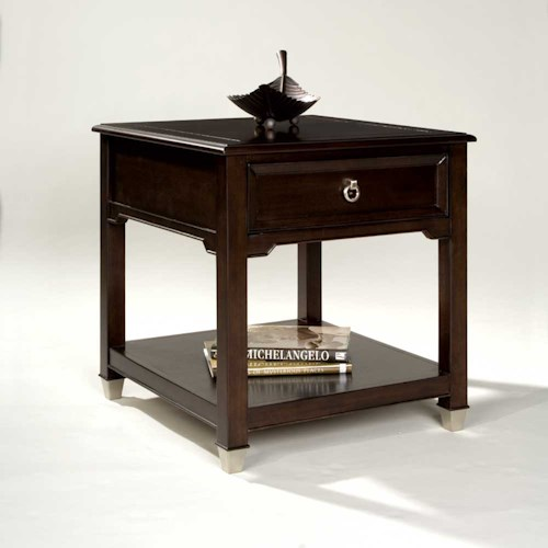 Magnussen Home Darien Rectangular End Table with One Drawer and Shelf