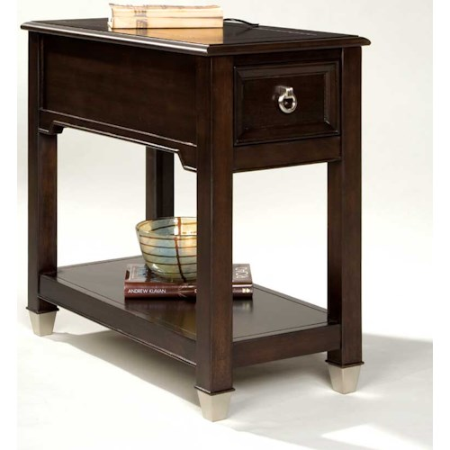 Magnussen Home Darien Rectangular Accent Table with One Drawer and Shelf