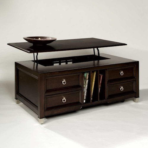 Magnussen Home Darien Lift Top Cocktail Table with Castors and Magazine Storage