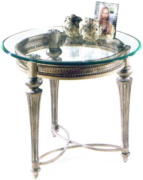 Magnussen Home Galloway Traditionally Styled Round End Table with Beveled Glass Top