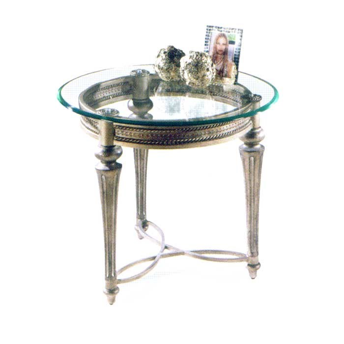 Galloway Traditionally Styled Round End Table With Beveled Glass Top By  Magnussen Home