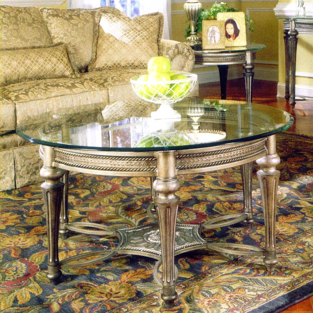 Galloway Traditionally Styled Round Cocktail Table With Beveled Glass Top  By Magnussen Home