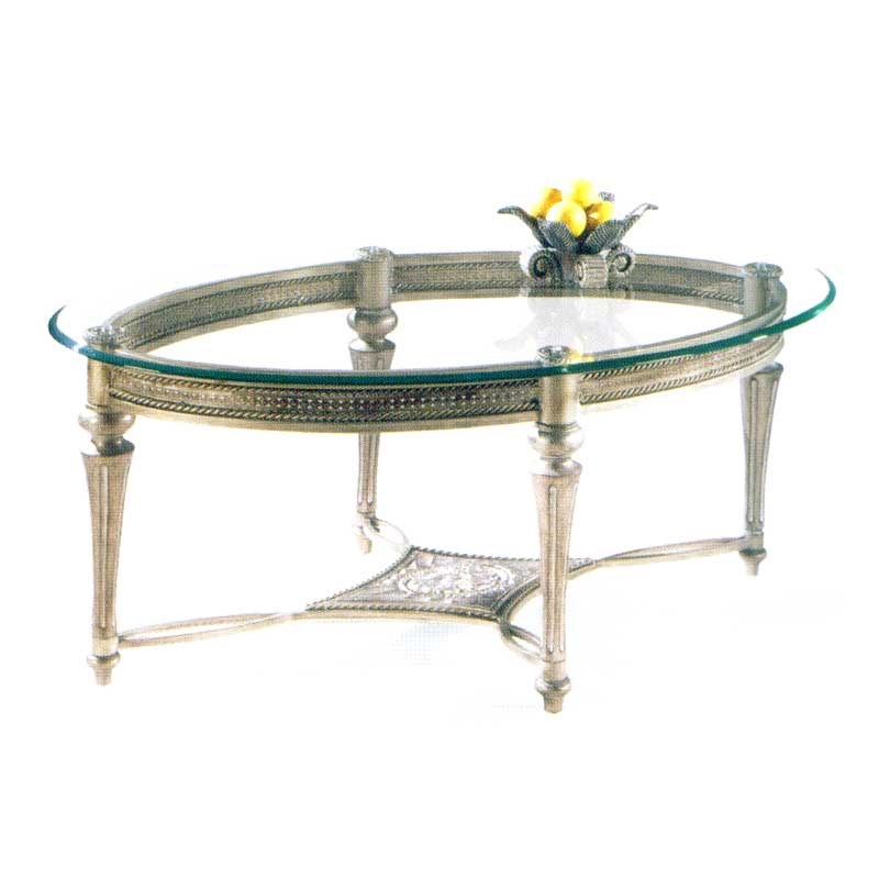 Galloway Traditionally Styled Oval Cocktail Table With Beveled Glass Top By  Magnussen Home