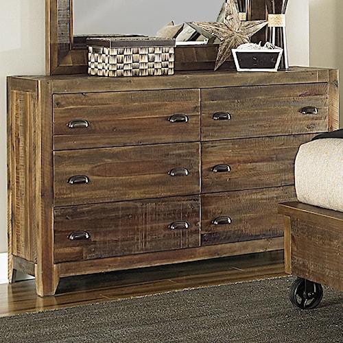 Magnussen Home  River Ridge Six Drawer Dresser w/ Metal Accents