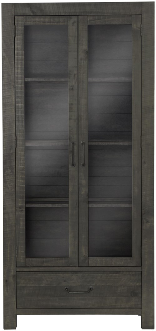Magnussen Home Abington Weathered Gray Curio Cabinet with Adjustable Shelving and LED Display Lighting