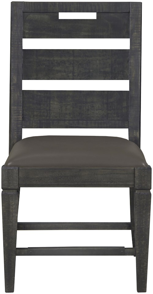 Magnussen Home Abington Dining Side Chair with Faux Leather Upholstered Seat and Handhold